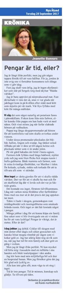 Krönika publicerad 28 september 2017 i Nya Åland